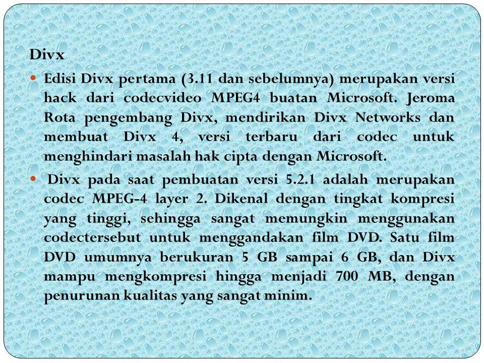 Divx Edisi Divx pertama (3.11 dan sebelumnya) merupakan versi hack dari codecvideo MPEG4 buatan Microsoft. Jeroma Rota pengembang Divx, mendirikan Div