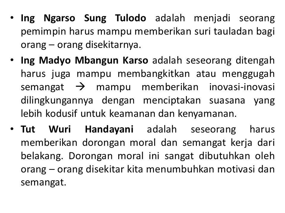 Ing Ngarso Sung Tulodo adalah menjadi seorang pemimpin harus mampu memberikan suri tauladan bagi orang – orang disekitarnya. Ing Madyo Mbangun Karso a