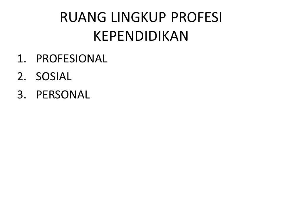RUANG LINGKUP PROFESI KEPENDIDIKAN 1.PROFESIONAL 2.SOSIAL 3.PERSONAL