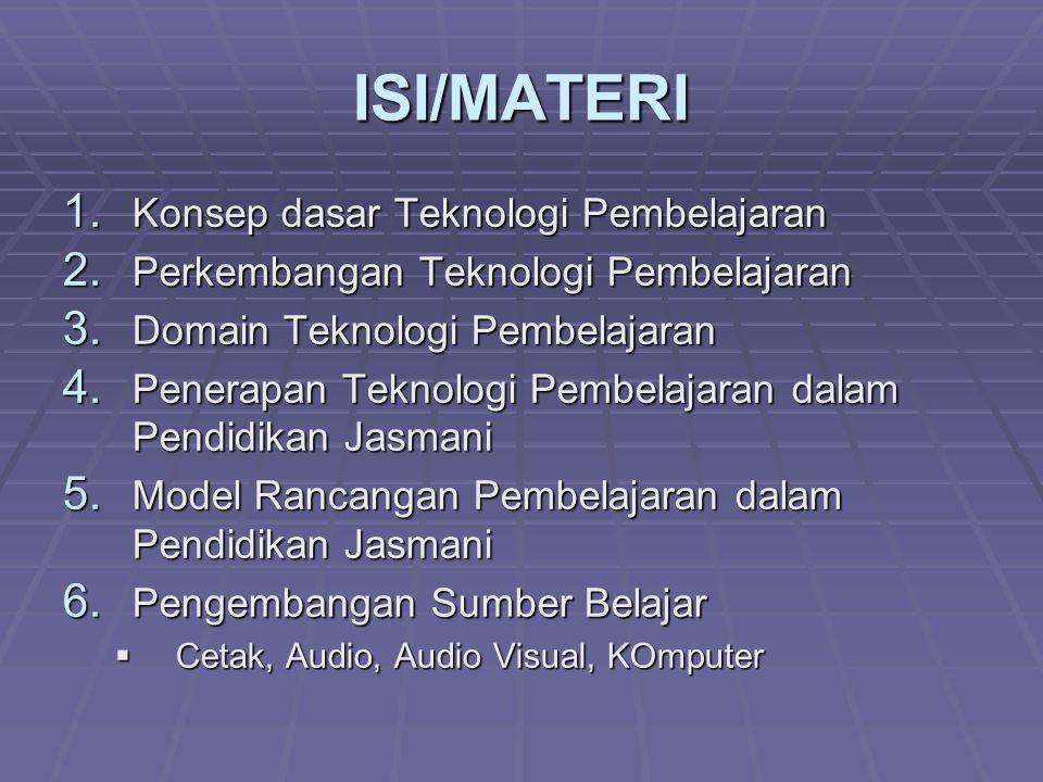 ISI/MATERI 1. Konsep dasar Teknologi Pembelajaran 2. Perkembangan Teknologi Pembelajaran 3. Domain Teknologi Pembelajaran 4. Penerapan Teknologi Pembe