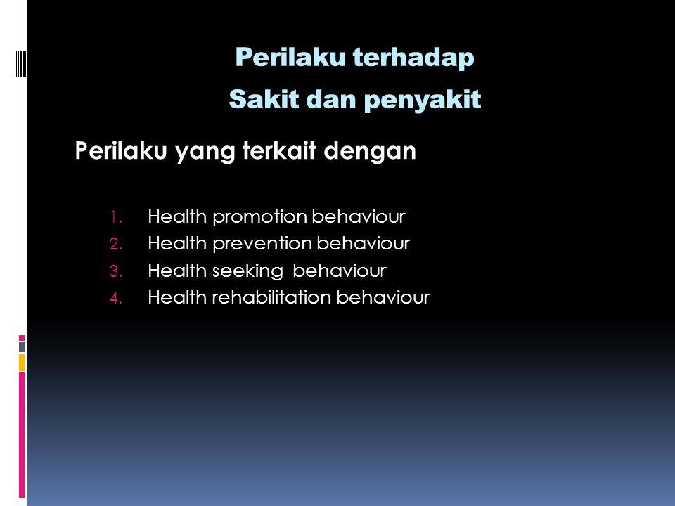 Perilaku terhadap Sakit dan penyakit Perilaku yang terkait dengan 1. Health promotion behaviour 2. Health prevention behaviour 3. Health seeking behav