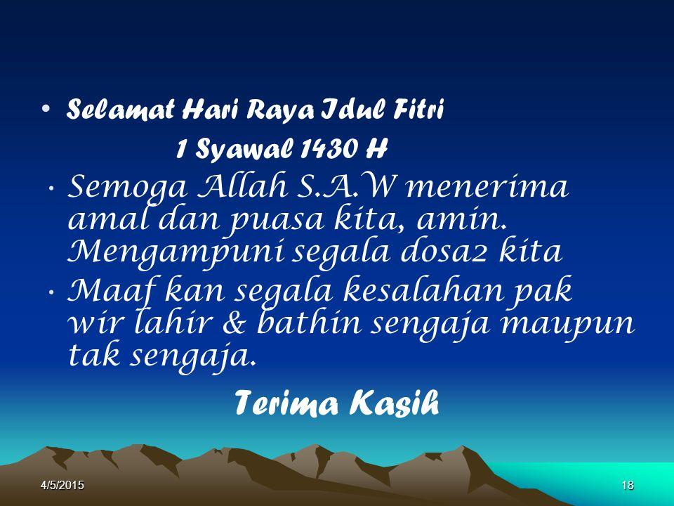 Selamat Hari Raya Idul Fitri 1 Syawal 1430 H Semoga Allah S.A.W menerima amal dan puasa kita, amin. Mengampuni segala dosa2 kita Maaf kan segala kesal
