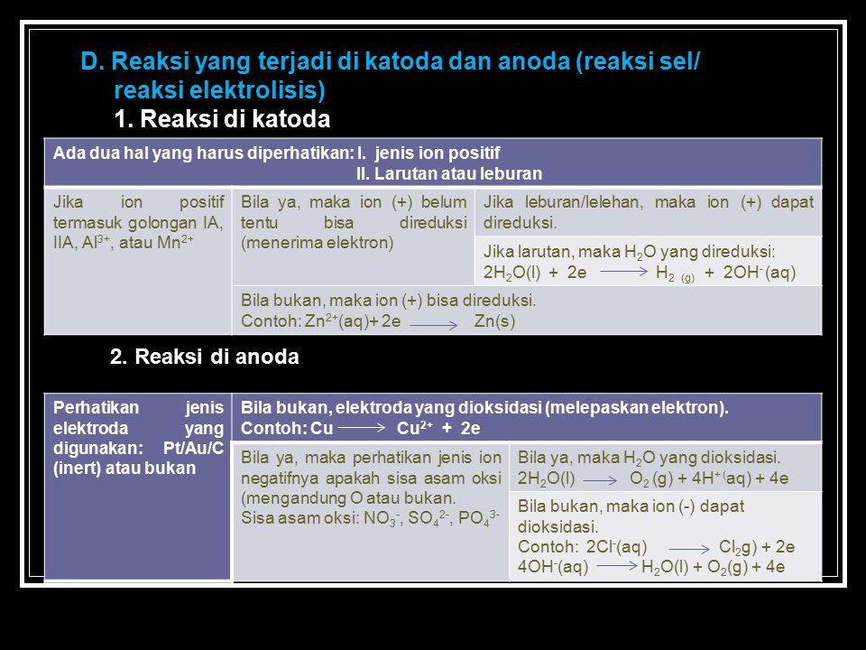 D. Reaksi yang terjadi di katoda dan anoda (reaksi sel/ reaksi elektrolisis) 1. Reaksi di katoda Ada dua hal yang harus diperhatikan: I. jenis ion pos