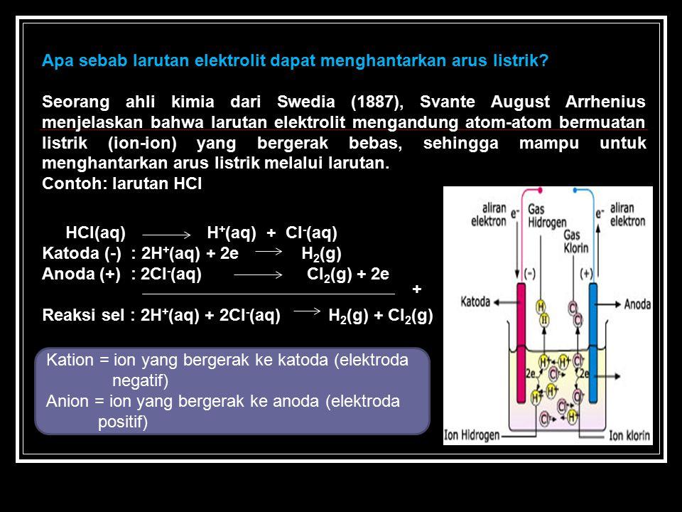 Apa sebab larutan elektrolit dapat menghantarkan arus listrik? Seorang ahli kimia dari Swedia (1887), Svante August Arrhenius menjelaskan bahwa laruta