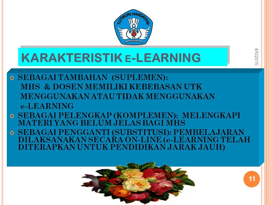 KARAKTERISTIK E -LEARNING SEBAGAI TAMBAHAN (SUPLEMEN): MHS & DOSEN MEMILIKI KEBEBASAN UTK MENGGUNAKAN ATAU TIDAK MENGGUNAKAN e-LEARNING SEBAGAI PELENG