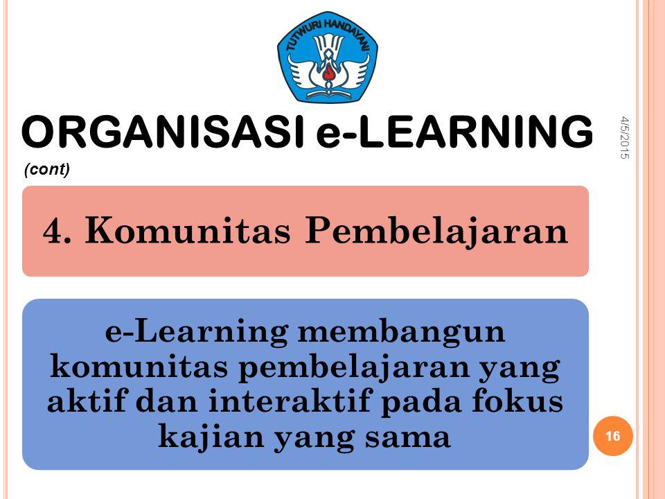 4. Komunitas Pembelajaran e-Learning membangun komunitas pembelajaran yang aktif dan interaktif pada fokus kajian yang sama ORGANISASI e-LEARNING (con