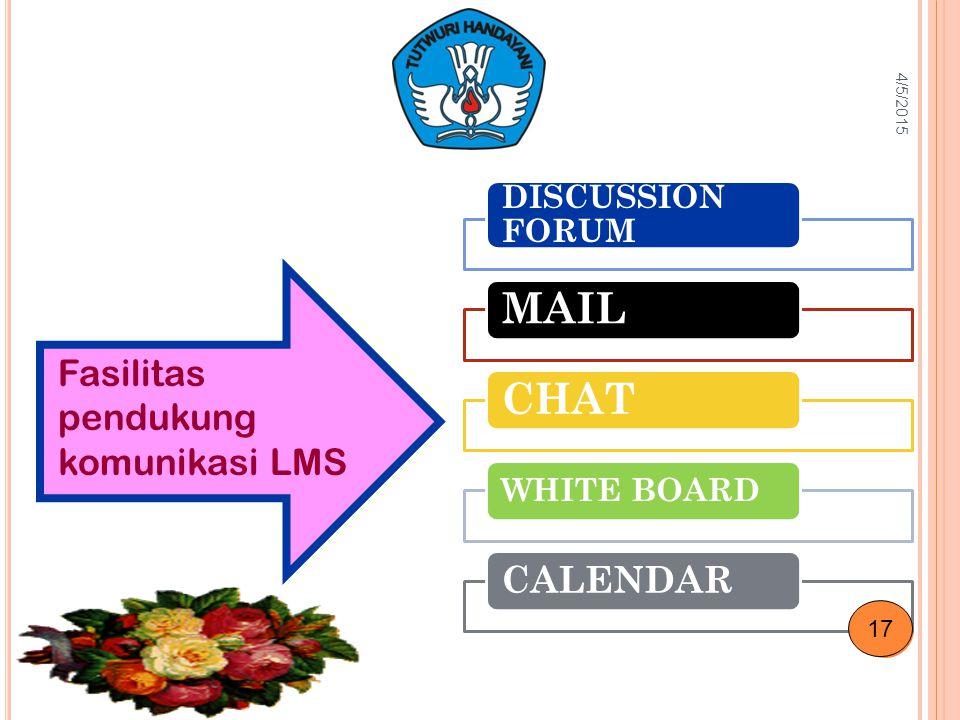 DISCUSSION FORUM MAILCHAT WHITE BOARD CALENDAR Fasilitas pendukung komunikasi LMS 4/5/2015 17