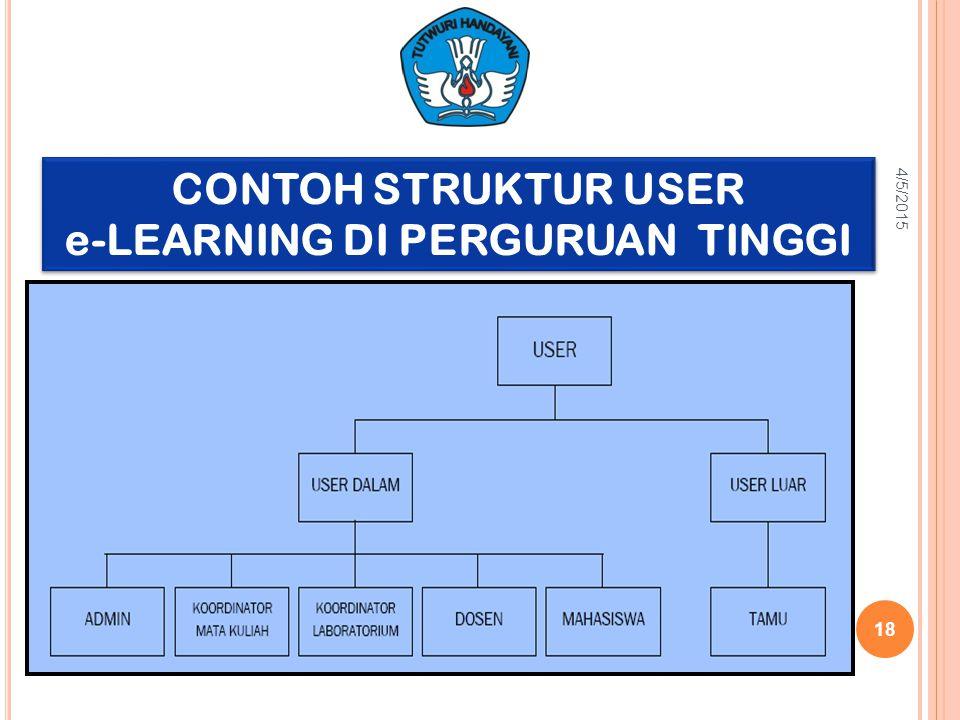 CONTOH STRUKTUR USER e-LEARNING DI PERGURUAN TINGGI CONTOH STRUKTUR USER e-LEARNING DI PERGURUAN TINGGI 4/5/2015 18
