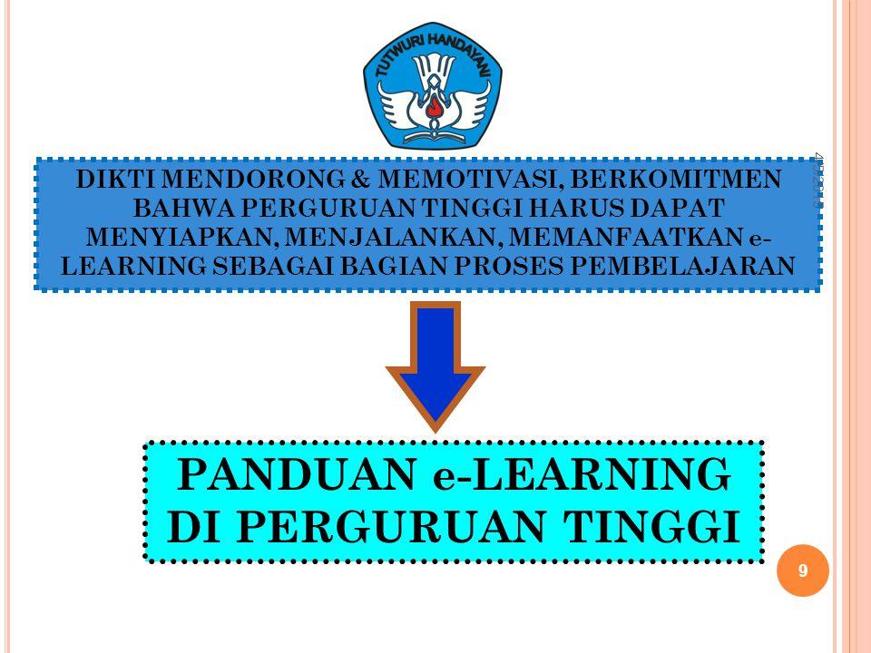 DIKTI MENDORONG & MEMOTIVASI, BERKOMITMEN BAHWA PERGURUAN TINGGI HARUS DAPAT MENYIAPKAN, MENJALANKAN, MEMANFAATKAN e- LEARNING SEBAGAI BAGIAN PROSES PEMBELAJARAN PANDUAN e-LEARNING DI PERGURUAN TINGGI 4/5/2015 9