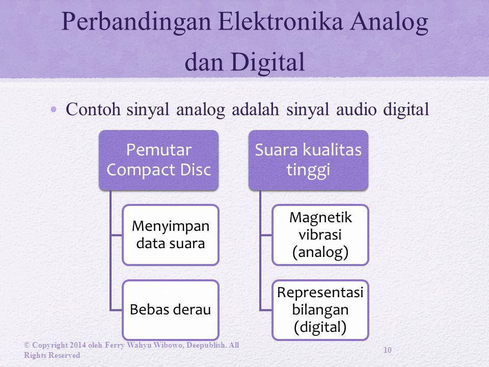 Perbandingan Elektronika Analog dan Digital Contoh sinyal analog adalah sinyal audio digital © Copyright 2014 oleh Ferry Wahyu Wibowo, Deepublish.