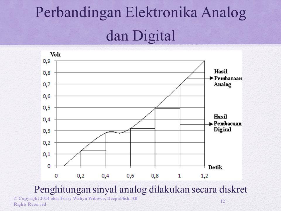 Perbandingan Elektronika Analog dan Digital Penghitungan sinyal analog dilakukan secara diskret © Copyright 2014 oleh Ferry Wahyu Wibowo, Deepublish.