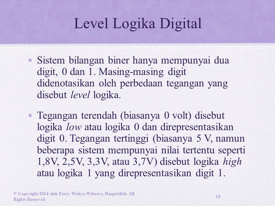 Level Logika Digital Sistem bilangan biner hanya mempunyai dua digit, 0 dan 1.