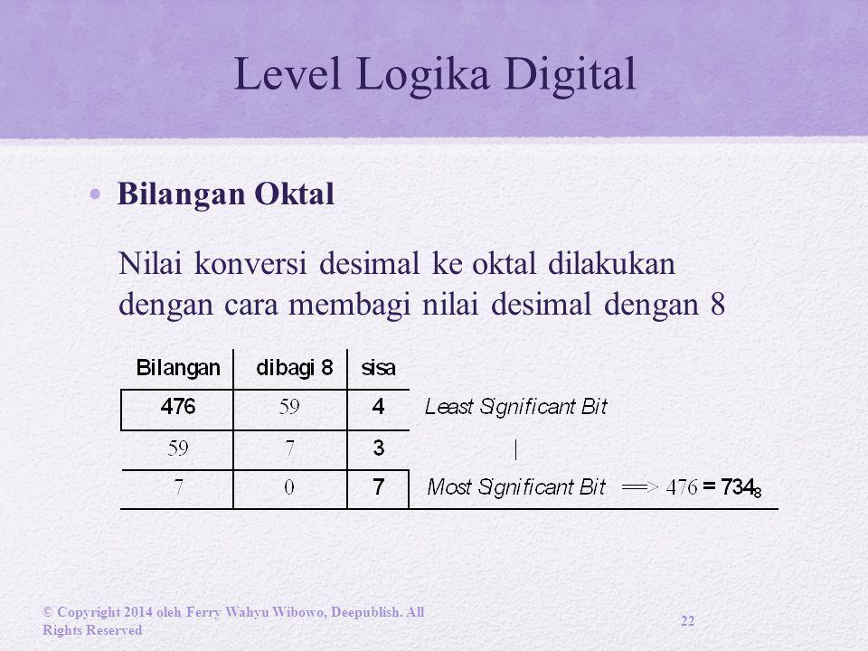 Level Logika Digital Bilangan Oktal Nilai konversi desimal ke oktal dilakukan dengan cara membagi nilai desimal dengan 8 © Copyright 2014 oleh Ferry Wahyu Wibowo, Deepublish.