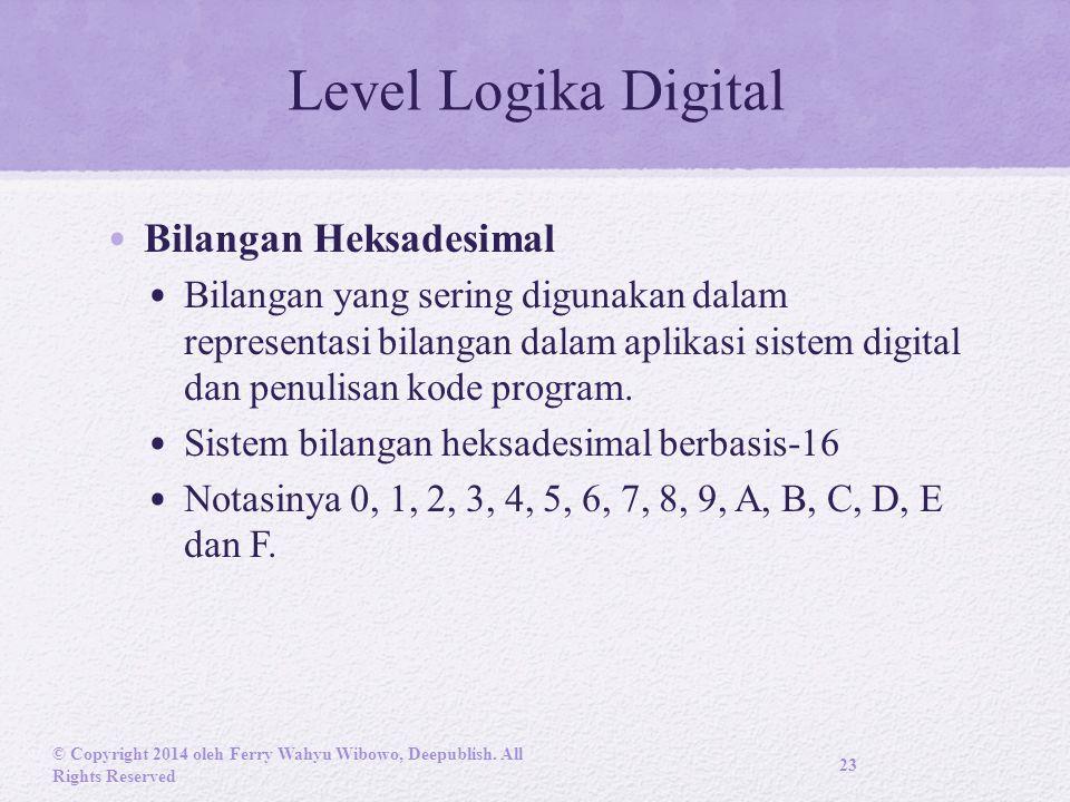 Level Logika Digital Bilangan Heksadesimal Bilangan yang sering digunakan dalam representasi bilangan dalam aplikasi sistem digital dan penulisan kode program.