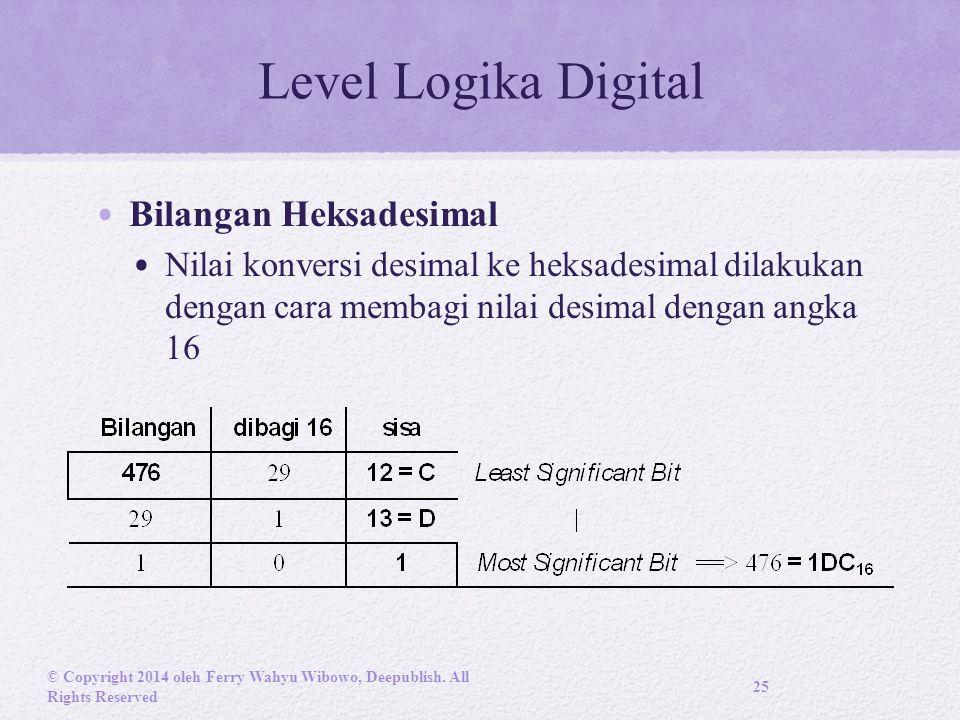 Level Logika Digital Bilangan Heksadesimal Nilai konversi desimal ke heksadesimal dilakukan dengan cara membagi nilai desimal dengan angka 16 © Copyright 2014 oleh Ferry Wahyu Wibowo, Deepublish.