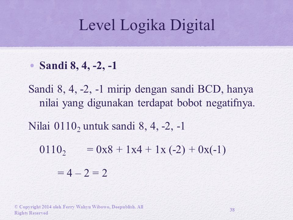 Level Logika Digital Sandi 8, 4, -2, -1 Sandi 8, 4, -2, -1 mirip dengan sandi BCD, hanya nilai yang digunakan terdapat bobot negatifnya.