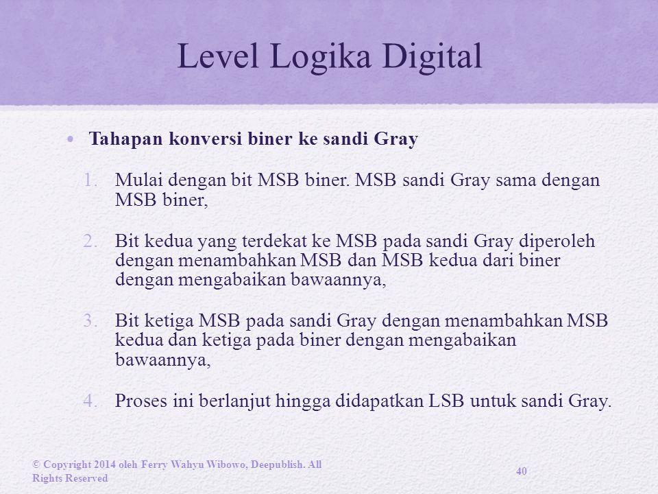 Level Logika Digital Tahapan konversi biner ke sandi Gray 1.Mulai dengan bit MSB biner.