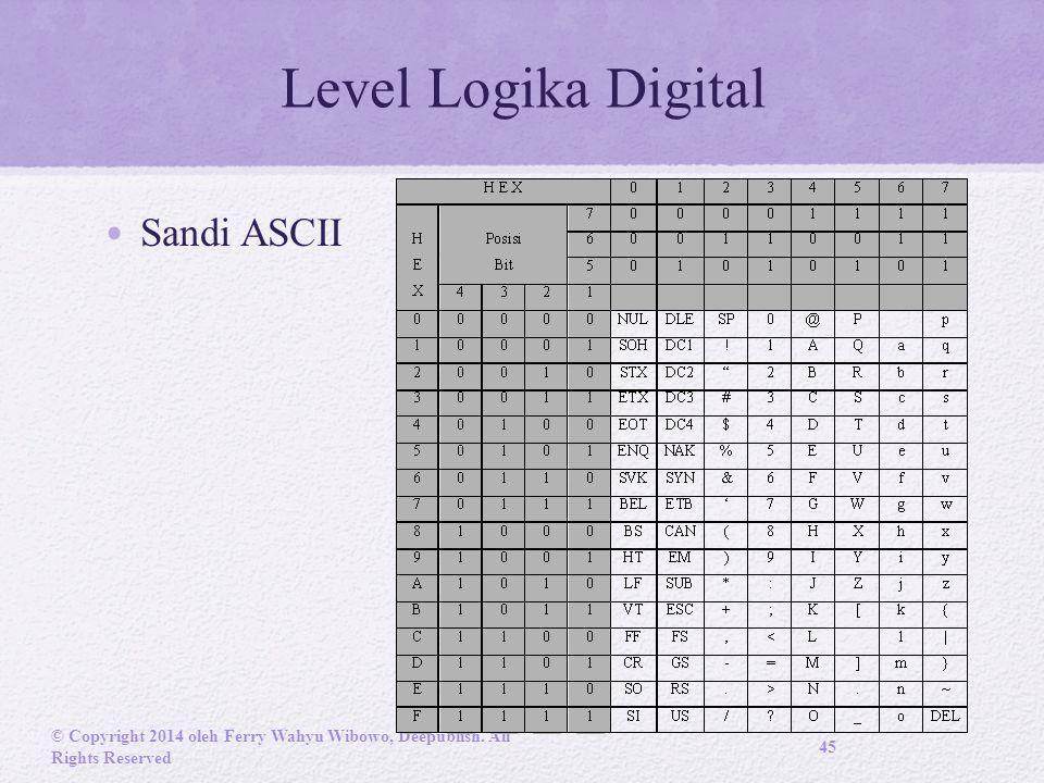 Level Logika Digital Sandi ASCII © Copyright 2014 oleh Ferry Wahyu Wibowo, Deepublish.