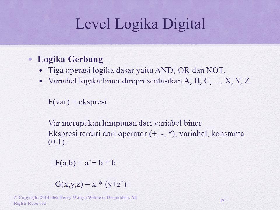 Level Logika Digital Logika Gerbang Tiga operasi logika dasar yaitu AND, OR dan NOT.