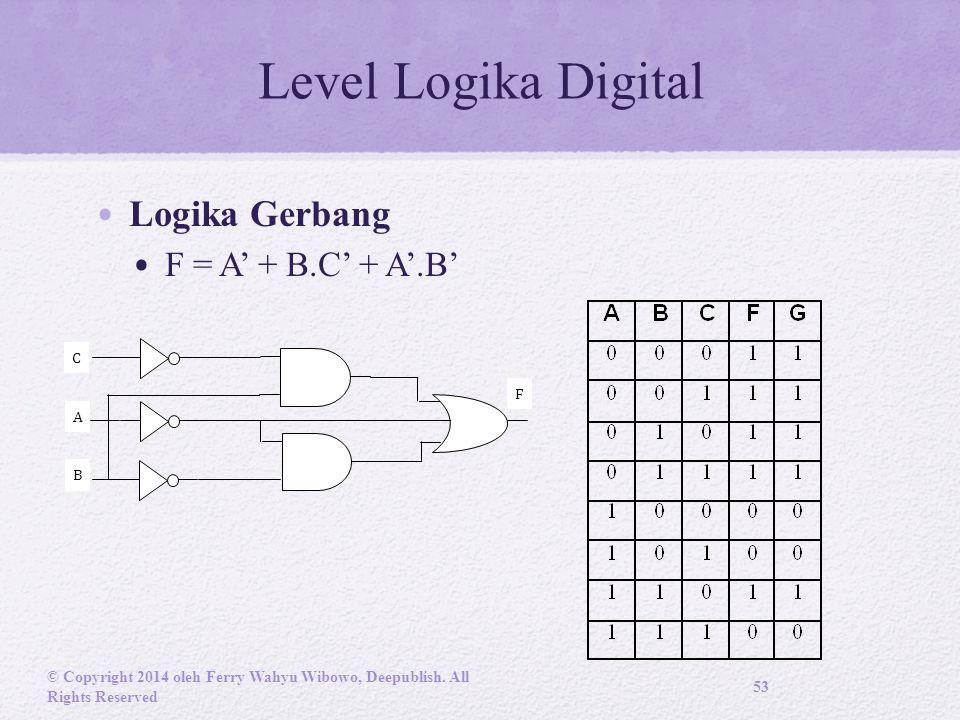Level Logika Digital Logika Gerbang F = A' + B.C' + A'.B' © Copyright 2014 oleh Ferry Wahyu Wibowo, Deepublish.