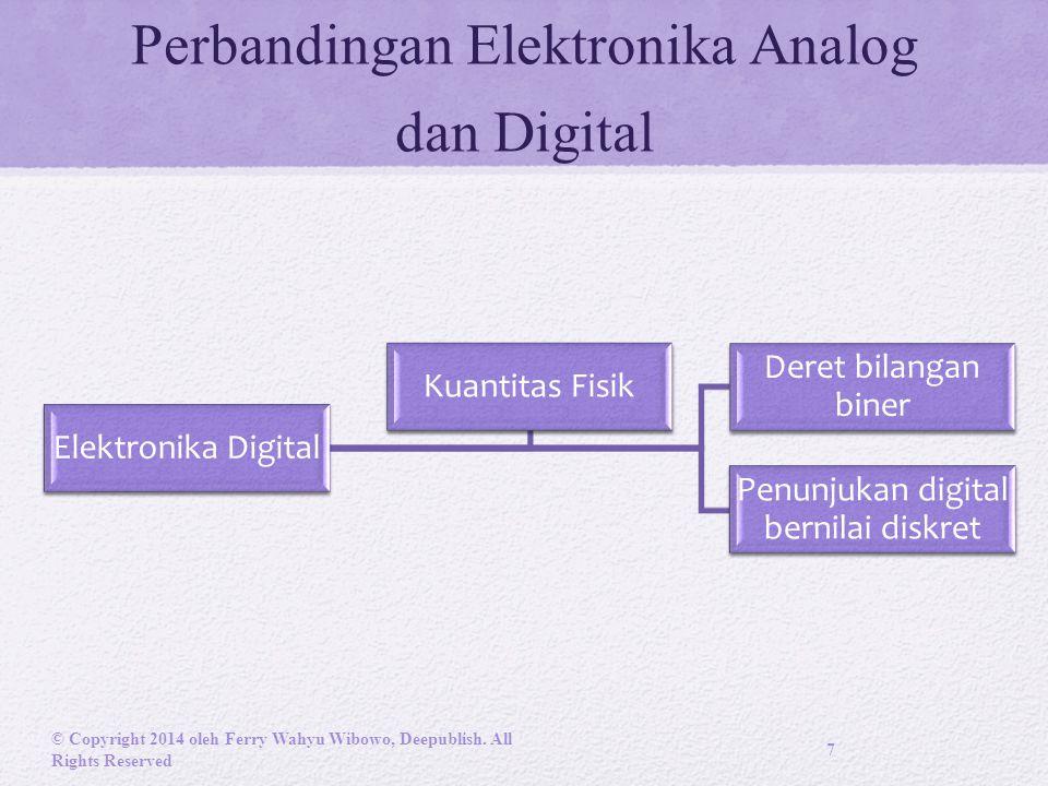 Perbandingan Elektronika Analog dan Digital Elektronika Digital Deret bilangan biner Penunjukan digital bernilai diskret Kuantitas Fisik © Copyright 2014 oleh Ferry Wahyu Wibowo, Deepublish.