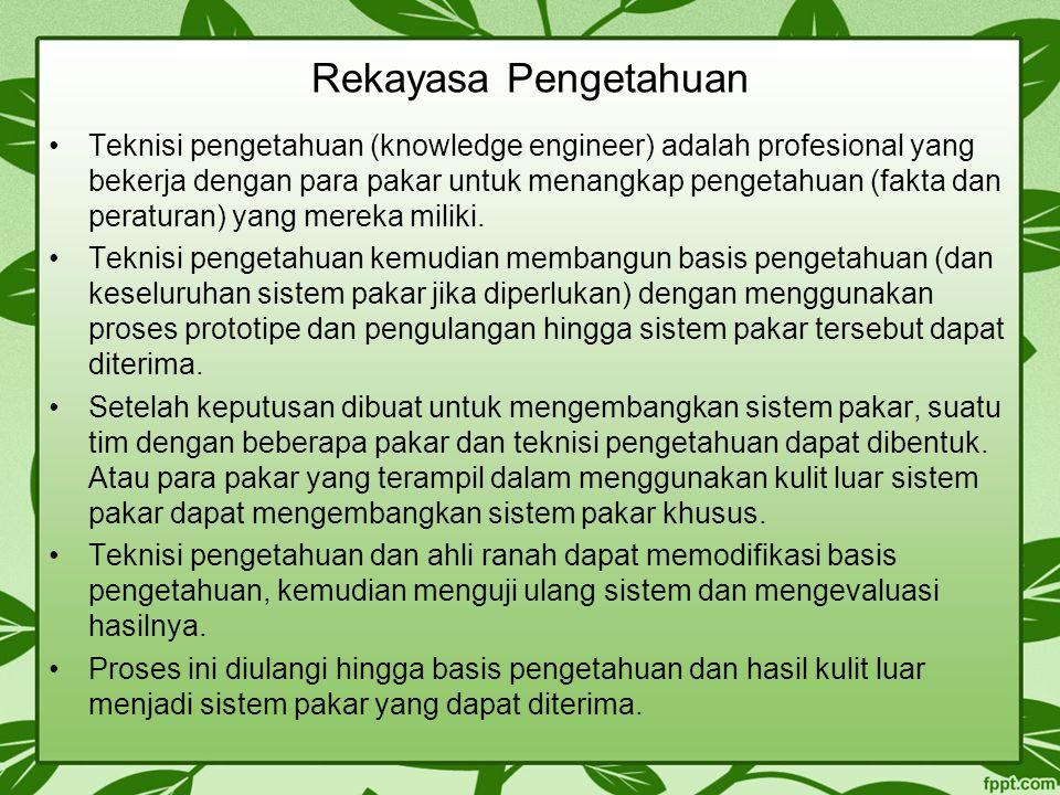 Rekayasa Pengetahuan Teknisi pengetahuan (knowledge engineer) adalah profesional yang bekerja dengan para pakar untuk menangkap pengetahuan (fakta dan