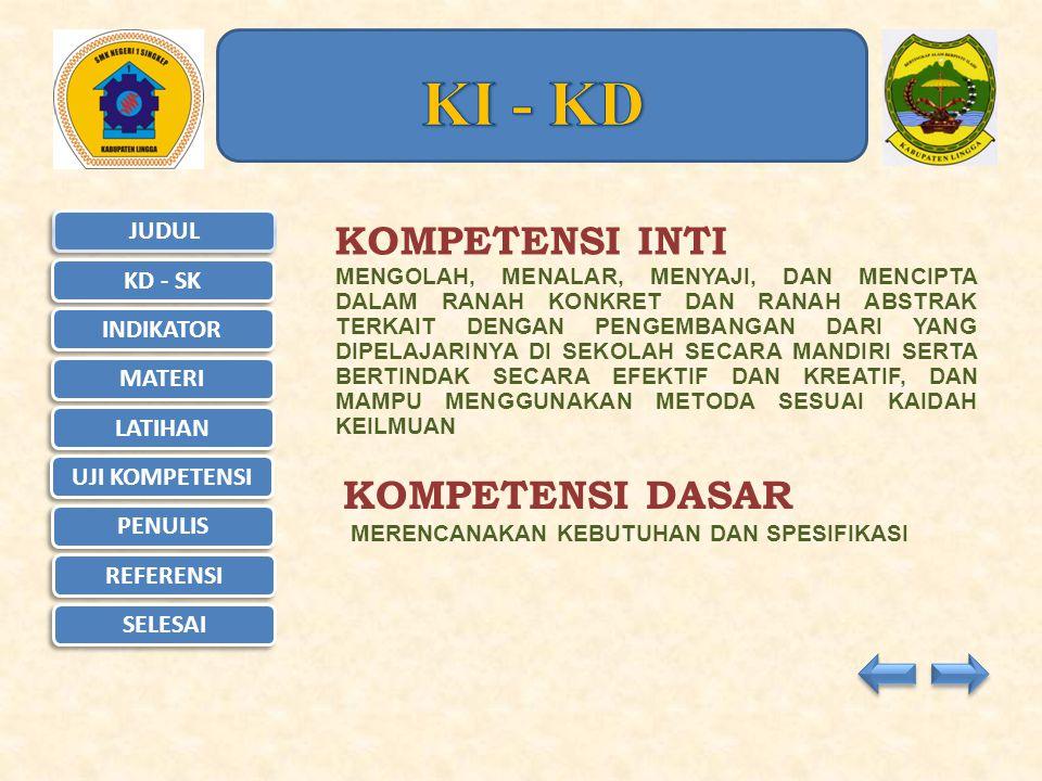 JUDUL KD - SK KD - SK INDIKATOR MATERI LATIHAN UJI KOMPETENSI UJI KOMPETENSI PENULIS REFERENSI SELESAI