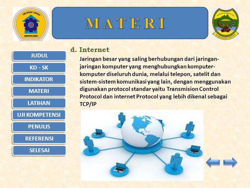 JUDUL KD - SK KD - SK INDIKATOR MATERI LATIHAN UJI KOMPETENSI UJI KOMPETENSI PENULIS REFERENSI SELESAI M A T E R I c.Wide Area Network (WAN) Memiliki