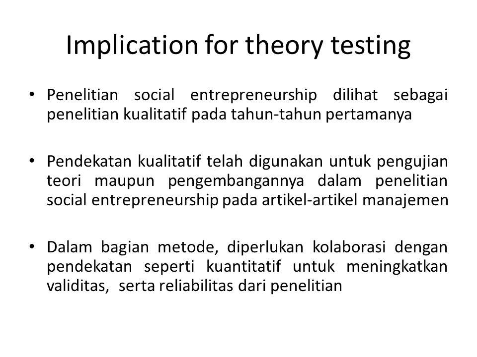 Implication for theory testing 2 Tantangan terbesar dalam penelitian social entrepreneurship adalah pada bagian pengolahan data dengan database yang besar Diperlukan solusi kreatif untuk mengimbangi data dengan jumlah yang besar tadi