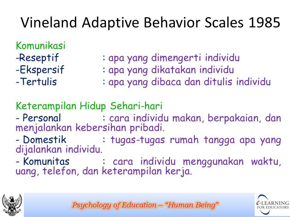 Vineland Adaptive Behavior Scales 1985 Komunikasi -Reseptif: apa yang dimengerti individu -Ekspersif: apa yang dikatakan individu -Tertulis: apa yang