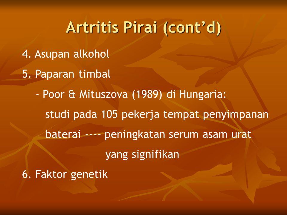 Artritis Pirai (cont'd) 4.Asupan alkohol 5.