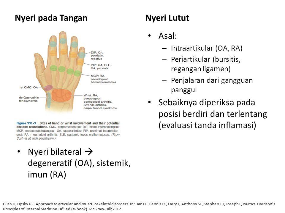Nyeri pada Tangan Nyeri bilateral  degeneratif (OA), sistemik, imun (RA) Nyeri Lutut Asal: – Intraartikular (OA, RA) – Periartikular (bursitis, regan
