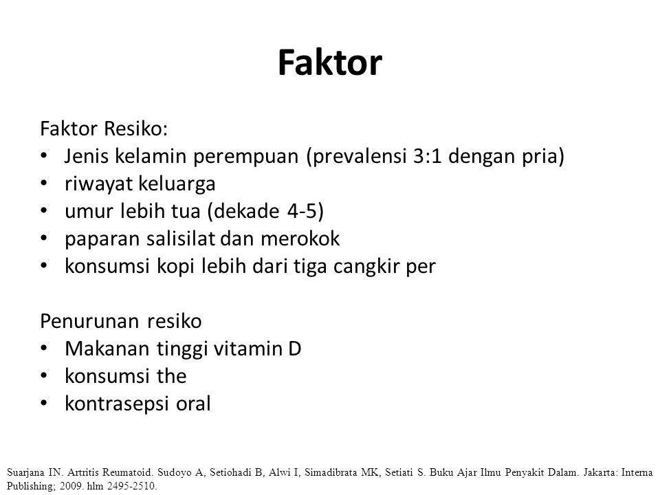 Faktor Faktor Resiko: Jenis kelamin perempuan (prevalensi 3:1 dengan pria) riwayat keluarga umur lebih tua (dekade 4-5) paparan salisilat dan merokok