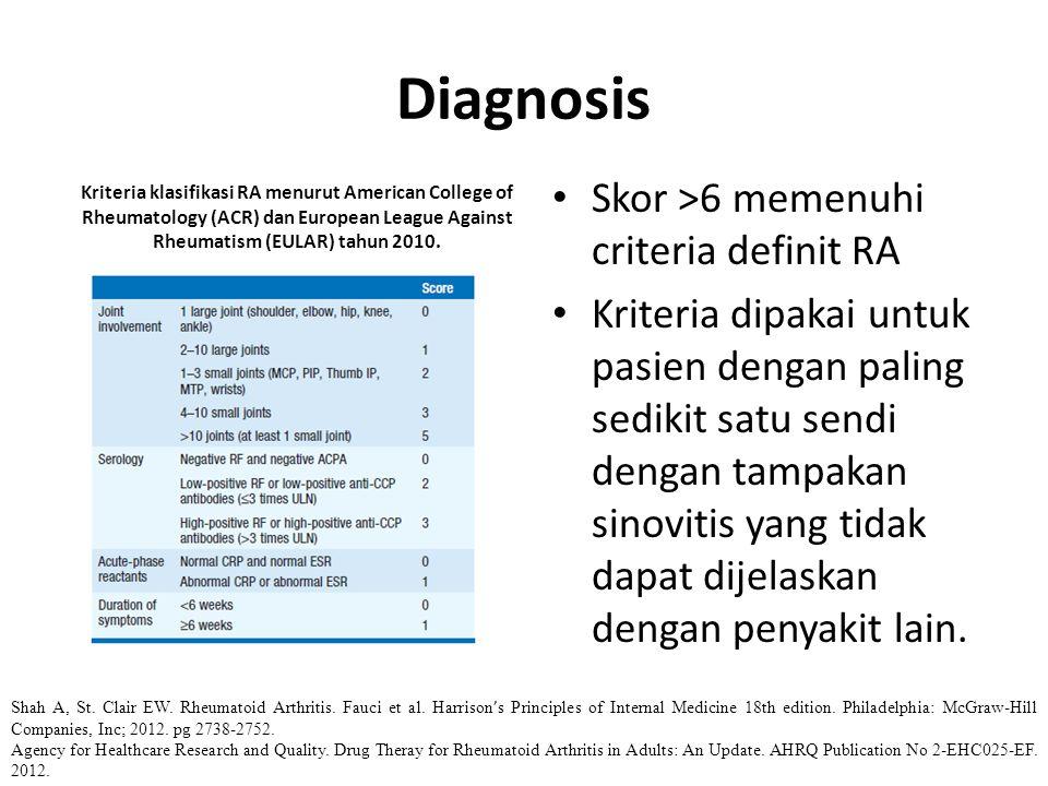 Diagnosis Skor >6 memenuhi criteria definit RA Kriteria dipakai untuk pasien dengan paling sedikit satu sendi dengan tampakan sinovitis yang tidak dap