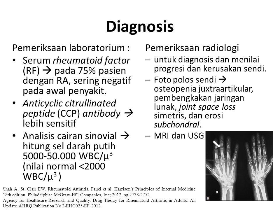Diagnosis Pemeriksaan laboratorium : Serum rheumatoid factor (RF)  pada 75% pasien dengan RA, sering negatif pada awal penyakit. Anticyclic citrullin