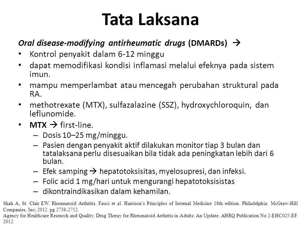Oral disease-modifying antirheumatic drugs (DMARDs)  Kontrol penyakit dalam 6-12 minggu dapat memodifikasi kondisi inflamasi melalui efeknya pada sis