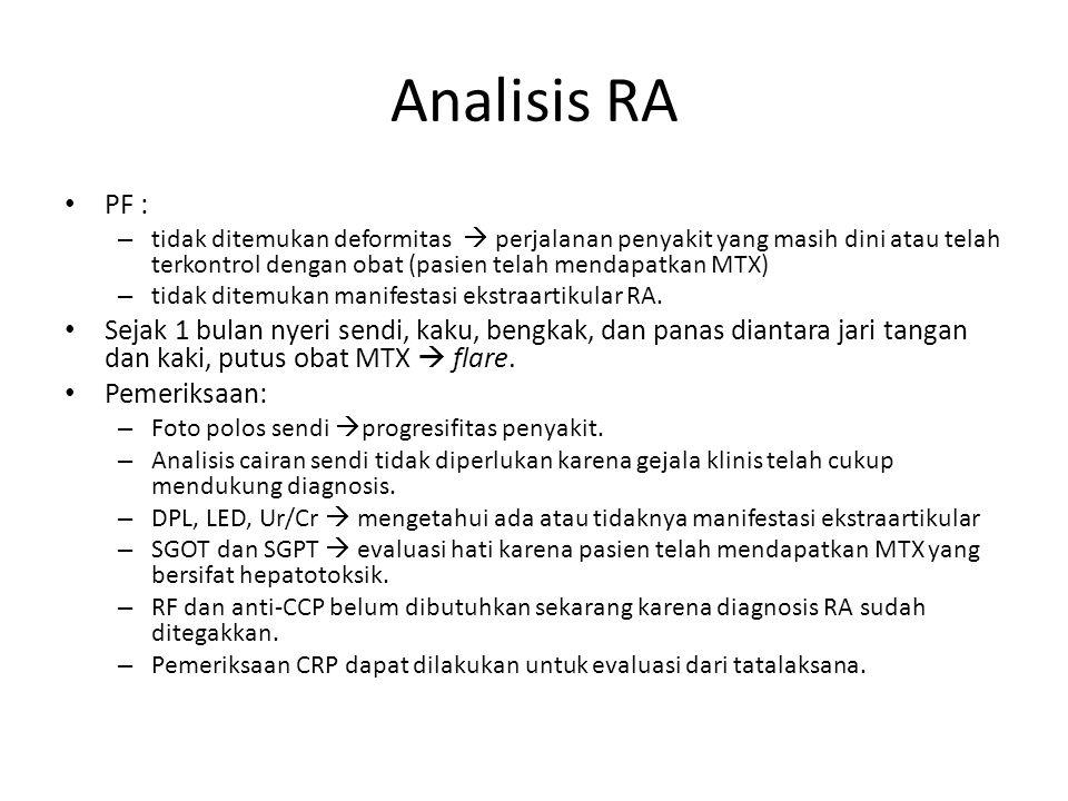 Analisis RA PF : – tidak ditemukan deformitas  perjalanan penyakit yang masih dini atau telah terkontrol dengan obat (pasien telah mendapatkan MTX) –