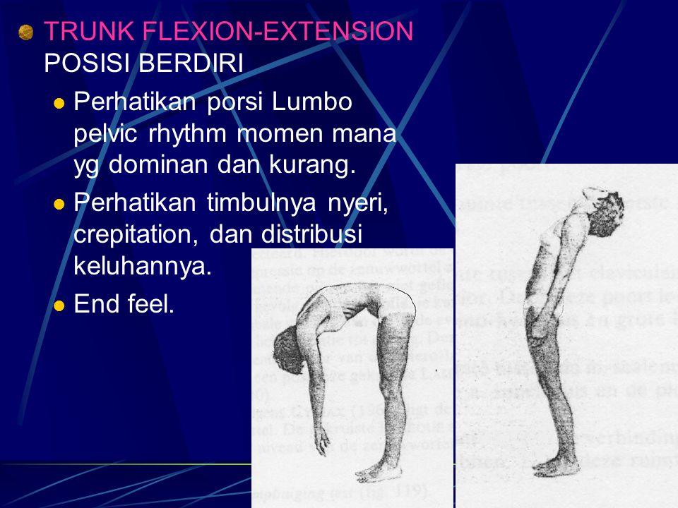 TRUNK FLEXION-EXTENSION POSISI BERDIRI Perhatikan porsi Lumbo pelvic rhythm momen mana yg dominan dan kurang. Perhatikan timbulnya nyeri, crepitation,