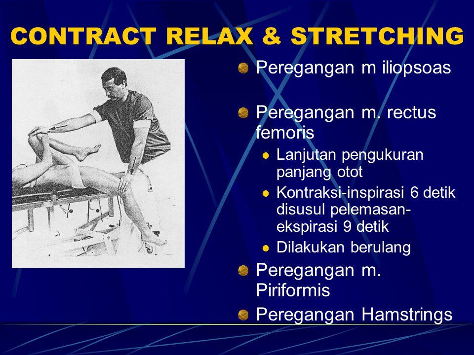 CONTRACT RELAX & STRETCHING Peregangan m iliopsoas Peregangan m. rectus femoris Lanjutan pengukuran panjang otot Kontraksi-inspirasi 6 detik disusul p