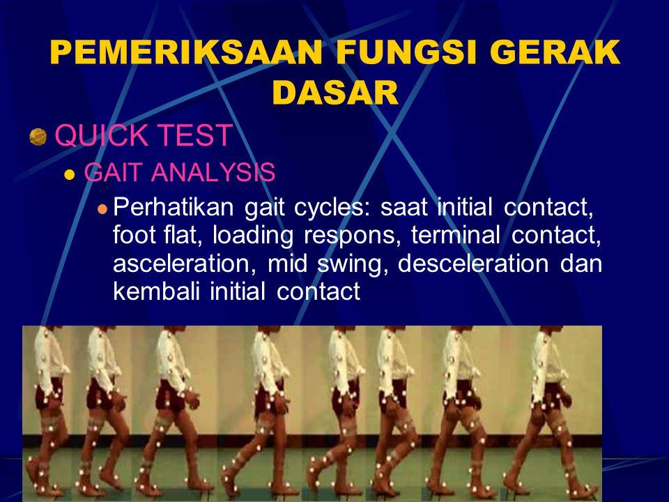 Pathological gait seperti trendelen's gait, duchene gait, weddling's gait, paralytic gait, parkinsonian's gait, horse gait dll.