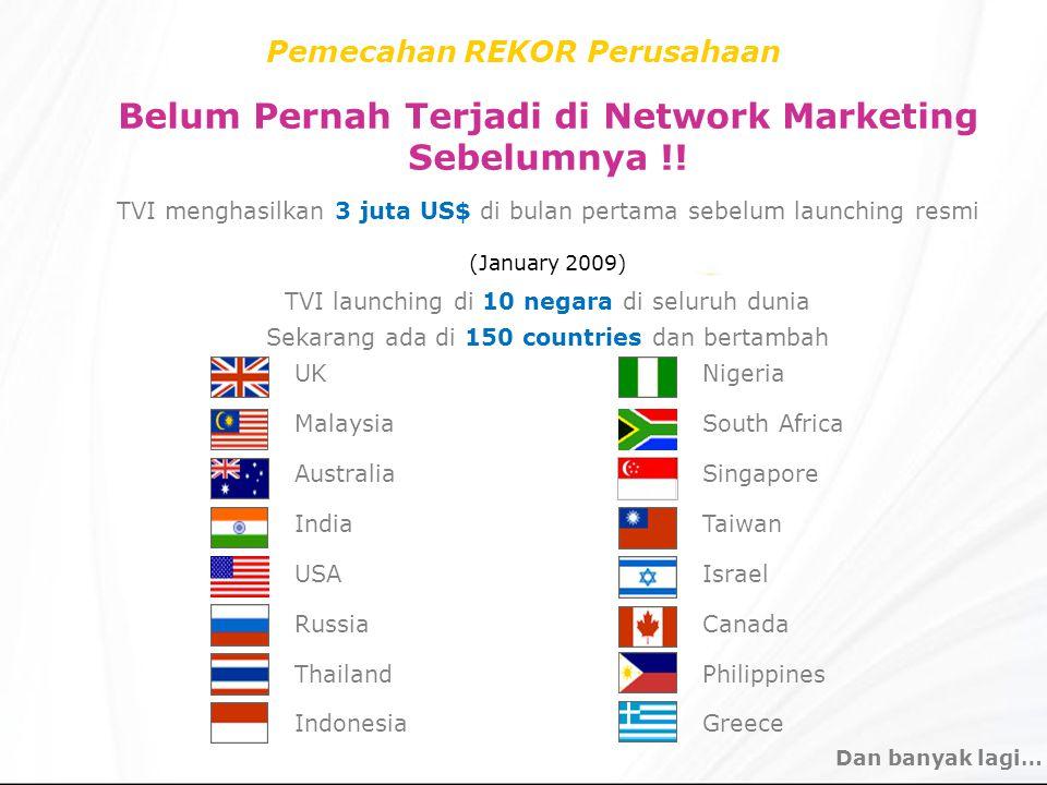 Pemecahan REKOR Perusahaan Belum Pernah Terjadi di Network Marketing Sebelumnya !! TVI menghasilkan 3 juta US$ di bulan pertama sebelum launching resm