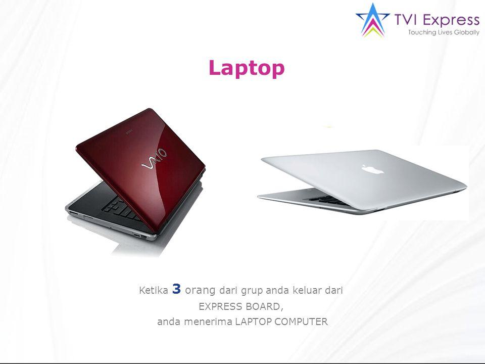 Laptop Ketika 3 orang dari grup anda keluar dari EXPRESS BOARD, anda menerima LAPTOP COMPUTER