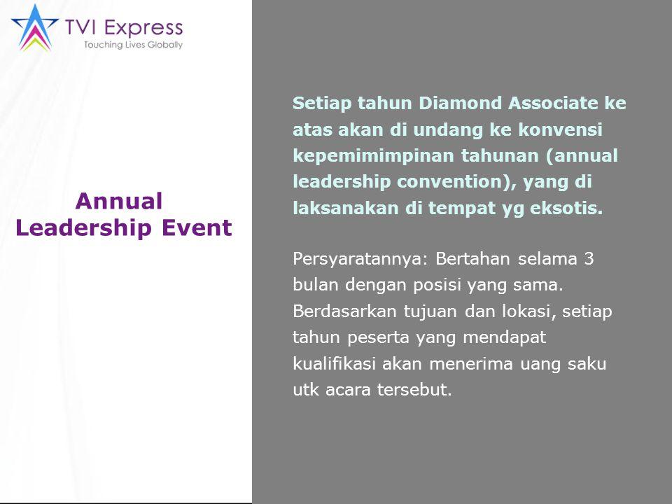 Annual Leadership Event Setiap tahun Diamond Associate ke atas akan di undang ke konvensi kepemimimpinan tahunan (annual leadership convention), yang