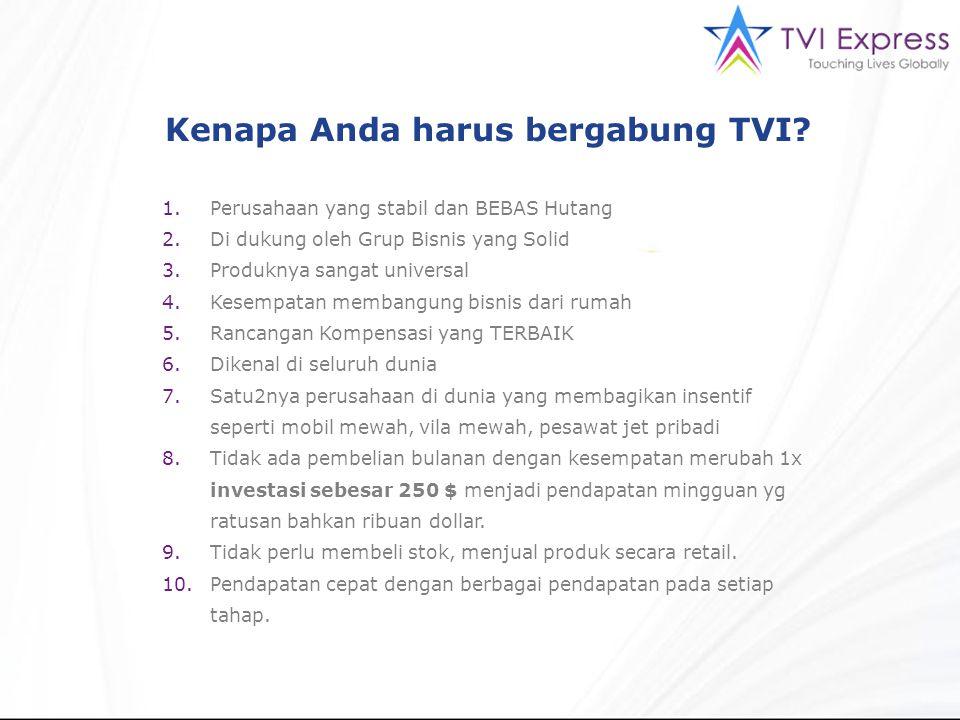Kenapa Anda harus bergabung TVI? 1.Perusahaan yang stabil dan BEBAS Hutang 2.Di dukung oleh Grup Bisnis yang Solid 3.Produknya sangat universal 4.Kese