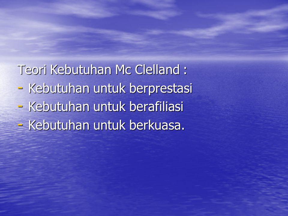 Teori Kebutuhan Mc Clelland : - Kebutuhan untuk berprestasi - Kebutuhan untuk berafiliasi - Kebutuhan untuk berkuasa.