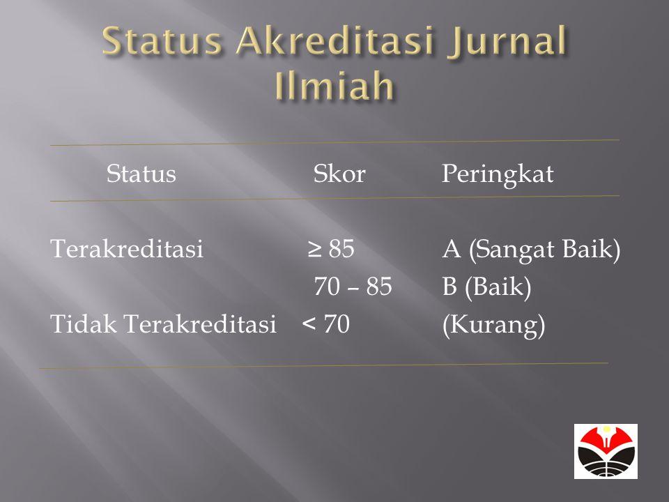 Status SkorPeringkat Terakreditasi≥ 85A (Sangat Baik) 70 – 85B (Baik) Tidak Terakreditasi < 70(Kurang)