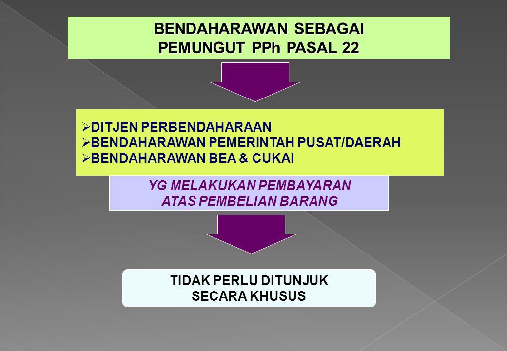 BENDAHARAWAN SEBAGAI PEMUNGUT PPh PASAL 22  DITJEN PERBENDAHARAAN  BENDAHARAWAN PEMERINTAH PUSAT/DAERAH  BENDAHARAWAN BEA & CUKAI TIDAK PERLU DITUN