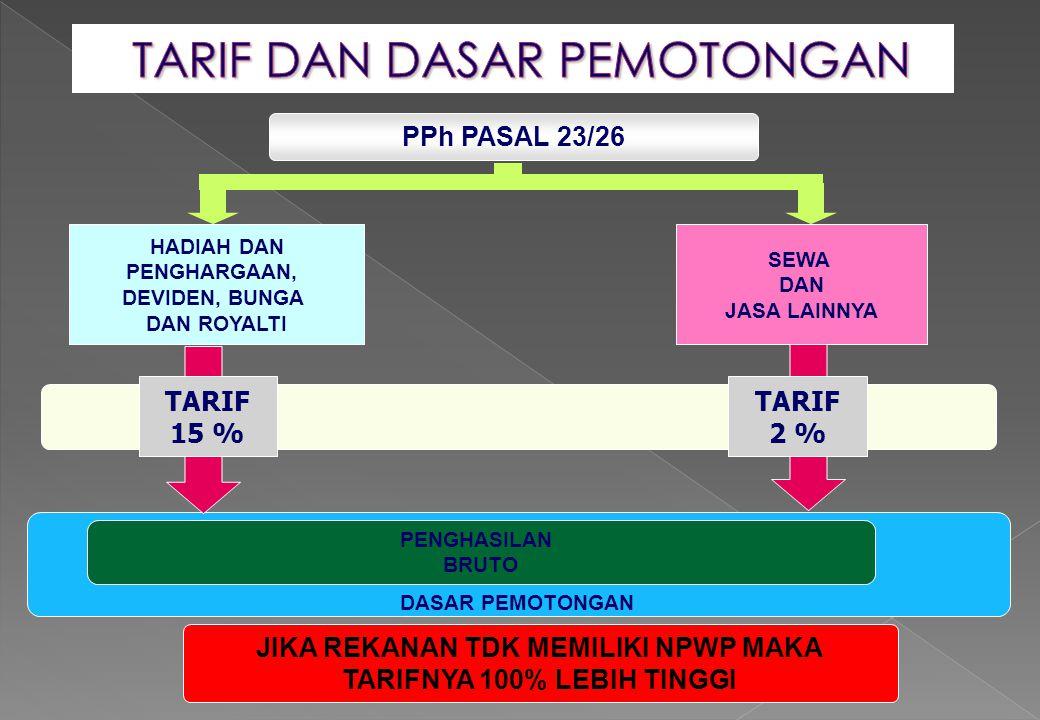 PPh PASAL 23/26 SEWA DAN JASA LAINNYA TARIF 15 % PENGHASILAN BRUTO DASAR PEMOTONGAN HADIAH DAN PENGHARGAAN, DEVIDEN, BUNGA DAN ROYALTI TARIF 2 % JIKA