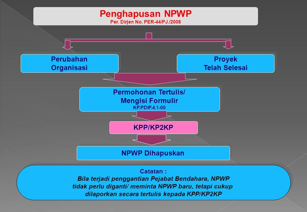 Catatan : Bila terjadi penggantian Pejabat Bendahara, NPWP tidak perlu diganti/ meminta NPWP baru, tetapi cukup dilaporkan secara tertulis kepada KPP/