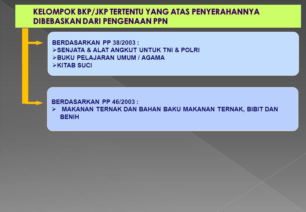 BERDASARKAN PP 38/2003 :  SENJATA & ALAT ANGKUT UNTUK TNI & POLRI  BUKU PELAJARAN UMUM / AGAMA  KITAB SUCI BERDASARKAN PP 46/2003 :  MAKANAN TERNA